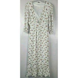 Amaryllis White Floral Cottagecore Maxi Dress Sz S